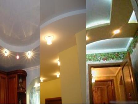 Освещение для двухуровнего гипсокартонного потолка