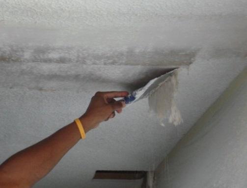 Cнятие побелки с потолка